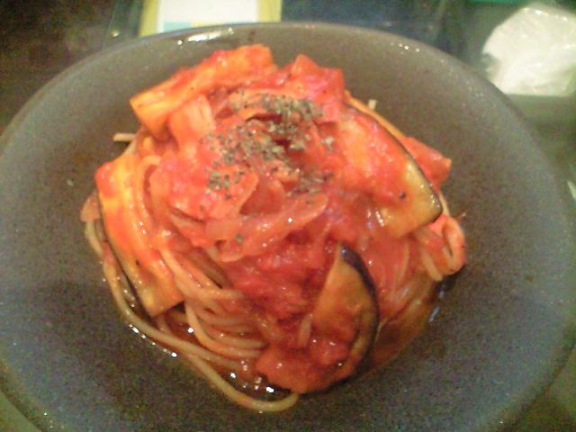 ナスとベーコンのトマトソーススパゲティ(「Nokishita」への挑戦)